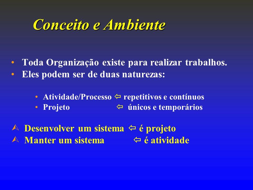 Conceito e Ambiente Toda Organização existe para realizar trabalhos. Eles podem ser de duas naturezas: Atividade/Processo repetitivos e contínuos Proj