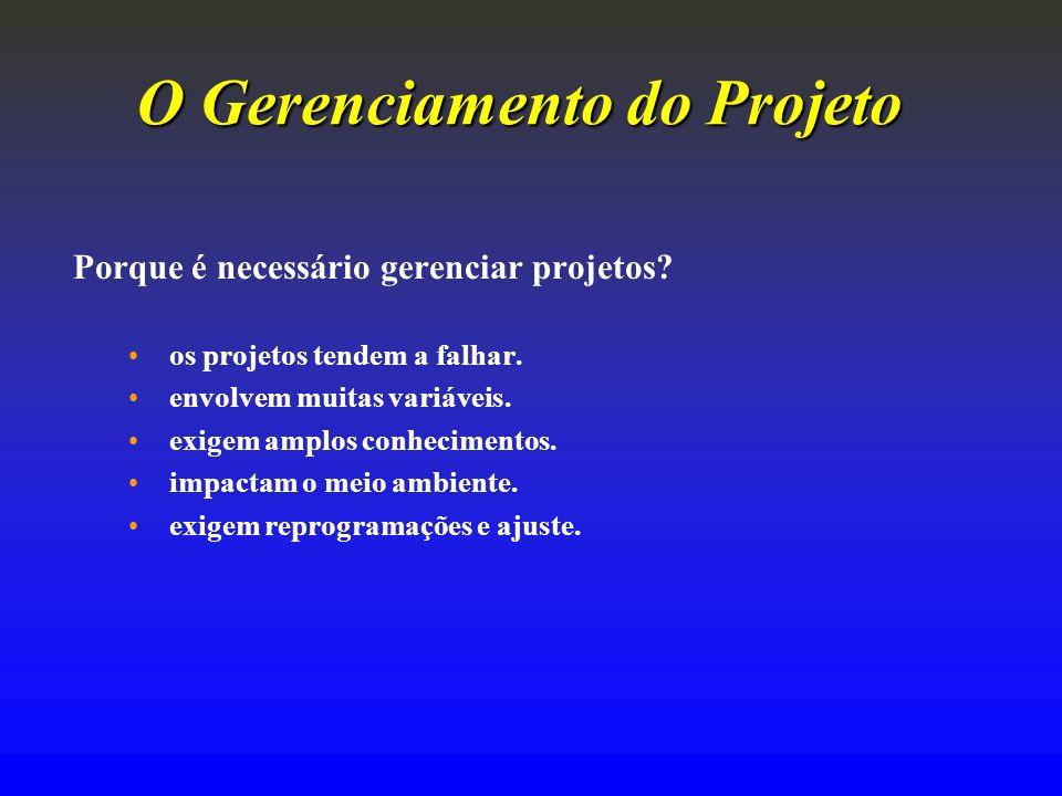 O Gerenciamento doProjeto O Gerenciamento do Projeto Porque é necessário gerenciar projetos? os projetos tendem a falhar. envolvem muitas variáveis. e