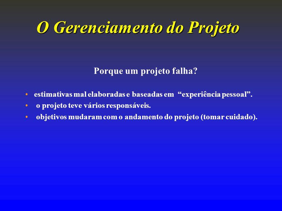 O Gerenciamento doProjeto O Gerenciamento do Projeto Porque um projeto falha? estimativas mal elaboradas e baseadas em experiência pessoal. o projeto
