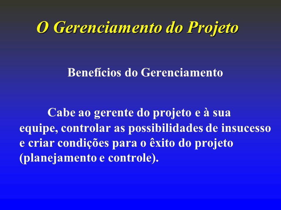 O Gerenciamento doProjeto O Gerenciamento do Projeto Benefícios do Gerenciamento Cabe ao gerente do projeto e à sua equipe, controlar as possibilidade