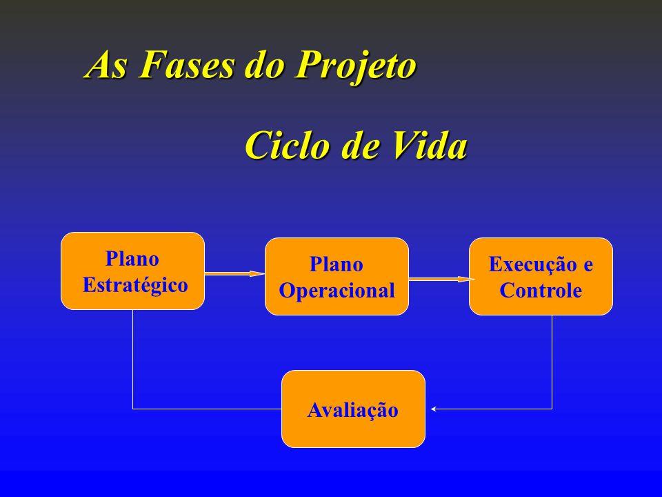 As Fases doProjeto As Fases do Projeto Ciclo de Vida Plano Estratégico Plano Operacional Execução e Controle Avaliação