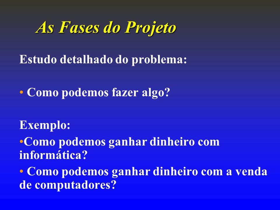 As FasesdoProjeto As Fases do Projeto Estudo detalhado do problema: Como podemos fazer algo? Exemplo: Como podemos ganhar dinheiro com informática? Co