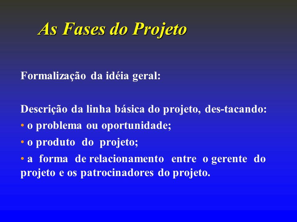 As FasesdoProjeto As Fases do Projeto Formalização da idéia geral: Descrição da linha básica do projeto, des-tacando: o problema ou oportunidade; o pr