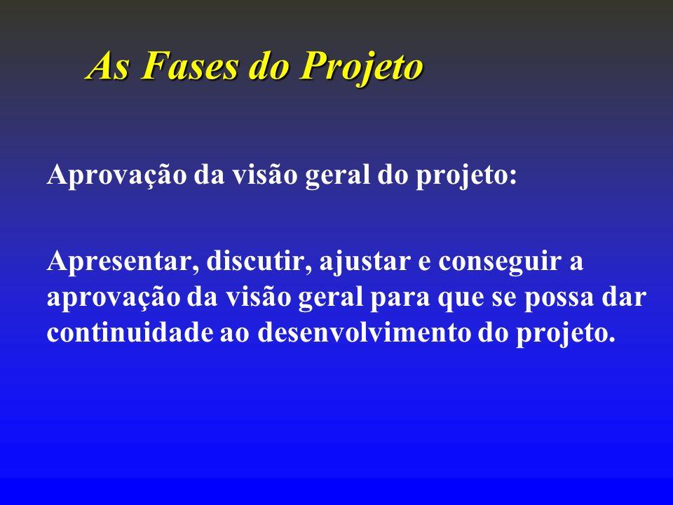 As FasesdoProjeto As Fases do Projeto Aprovação da visão geral do projeto: Apresentar, discutir, ajustar e conseguir a aprovação da visão geral para q