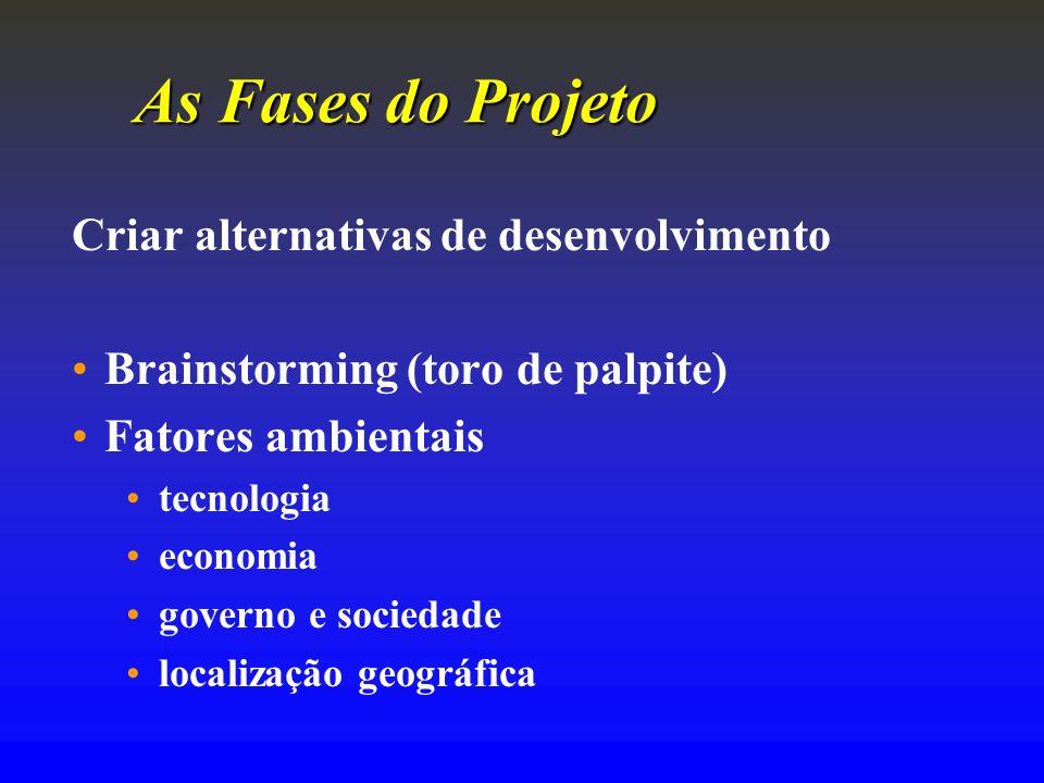 As FasesdoProjeto As Fases do Projeto Criar alternativas de desenvolvimento Brainstorming (toro de palpite) Fatores ambientais tecnologia economia gov