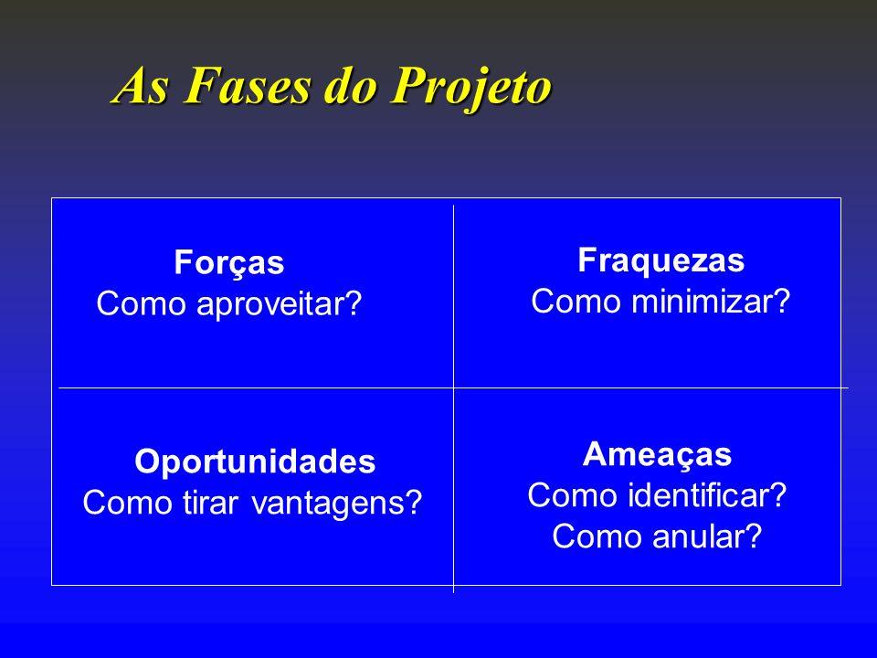 As FasesdoProjeto As Fases do Projeto Forças Como aproveitar? Fraquezas Como minimizar? Oportunidades Como tirar vantagens? Ameaças Como identificar?