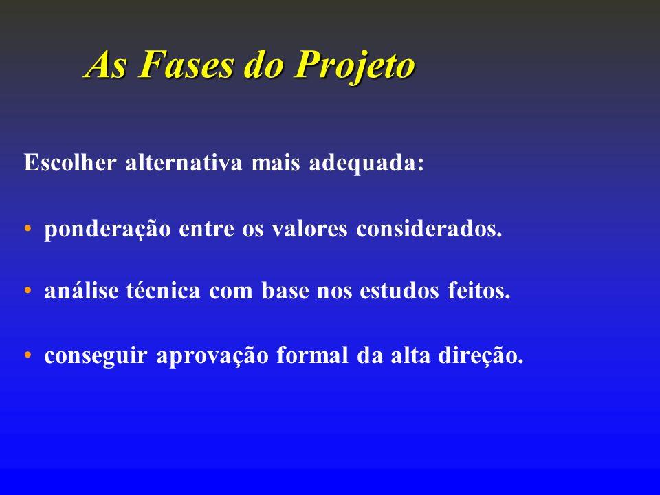As FasesdoProjeto As Fases do Projeto Escolher alternativa mais adequada: ponderação entre os valores considerados. análise técnica com base nos estud