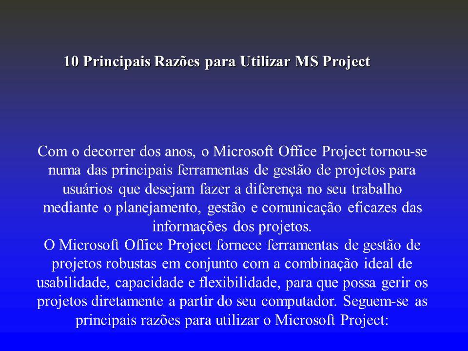 Com o decorrer dos anos, o Microsoft Office Project tornou-se numa das principais ferramentas de gestão de projetos para usuários que desejam fazer a