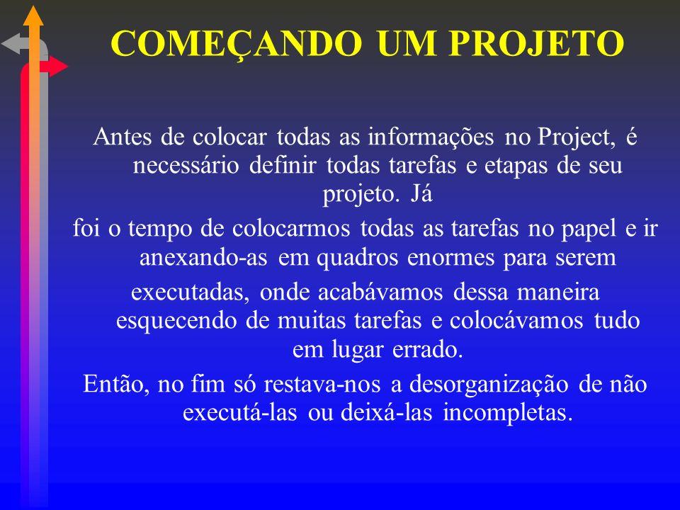 Antes de colocar todas as informações no Project, é necessário definir todas tarefas e etapas de seu projeto. Já foi o tempo de colocarmos todas as ta