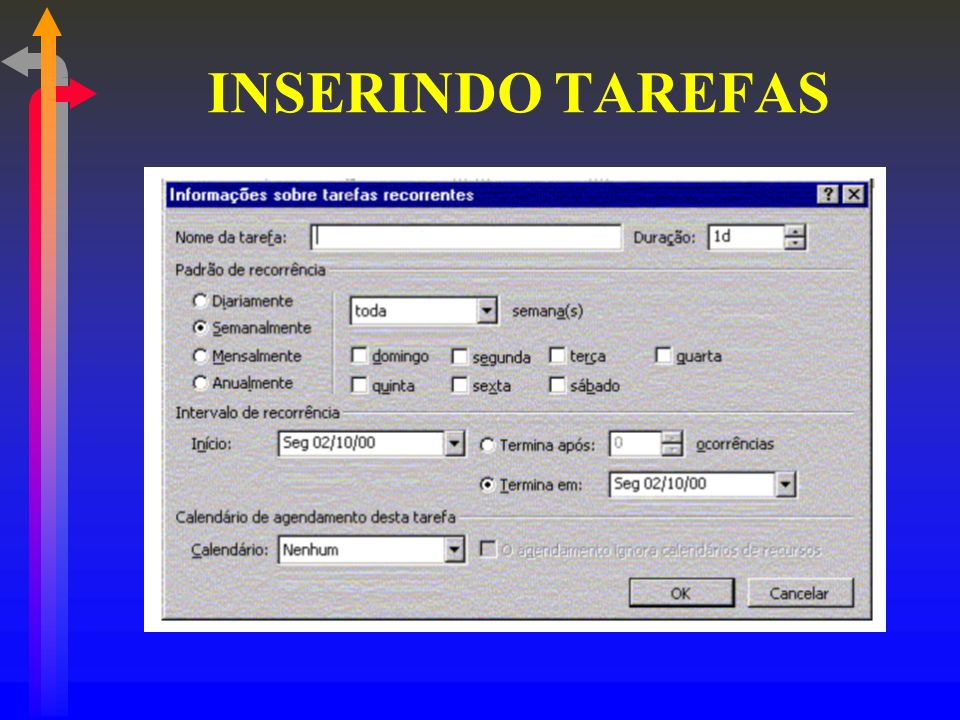 INSERINDO TAREFAS