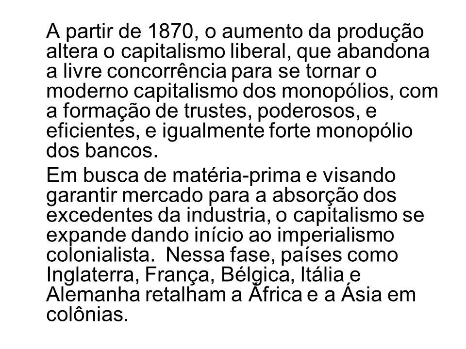 A partir de 1870, o aumento da produção altera o capitalismo liberal, que abandona a livre concorrência para se tornar o moderno capitalismo dos monop
