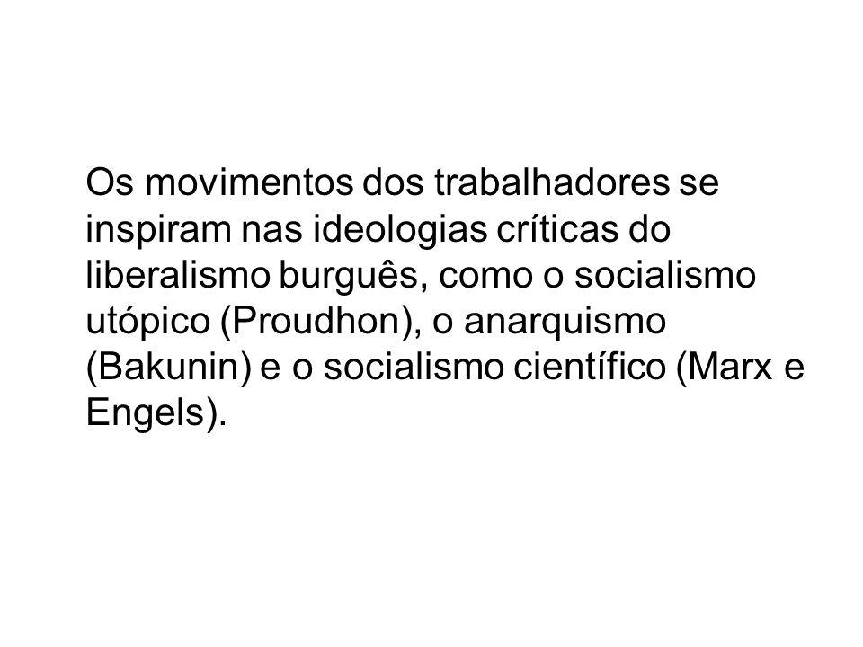 Os movimentos dos trabalhadores se inspiram nas ideologias críticas do liberalismo burguês, como o socialismo utópico (Proudhon), o anarquismo (Bakuni