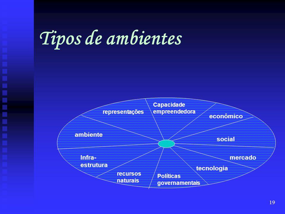 18 O Ambiente Logístico Tipos de ambientes (camadas) Ambiente difuso ou mediato Ambiente imediato Ambiente interno