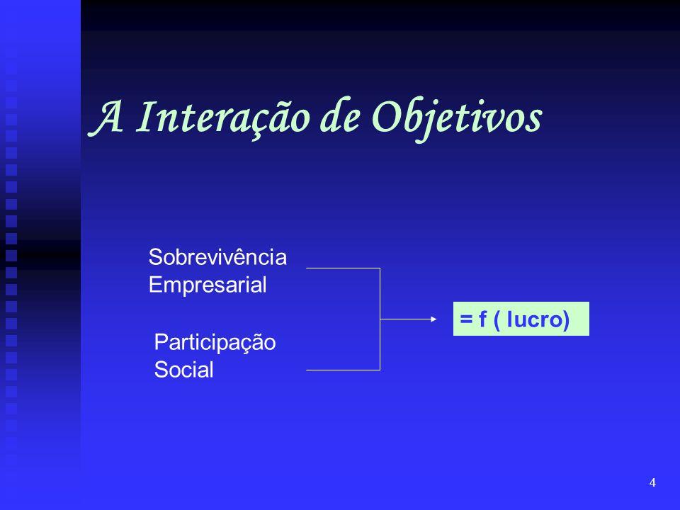 4 Sobrevivência Empresarial Participação Social = f ( lucro) A Interação de Objetivos