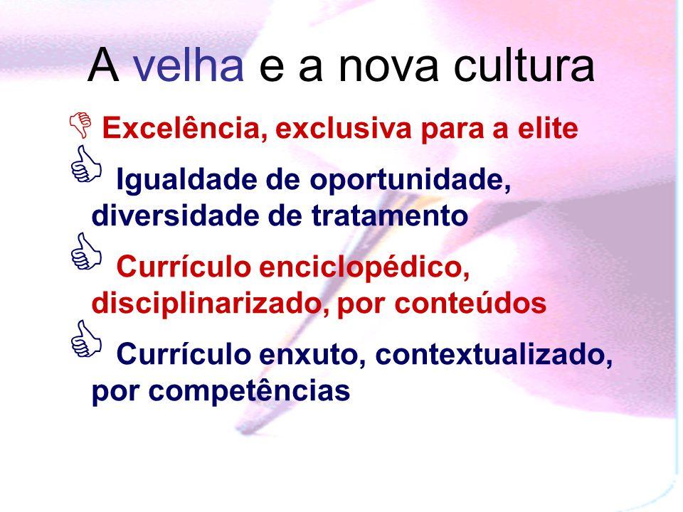 A velha e a nova cultura Excelência, exclusiva para a elite Igualdade de oportunidade, diversidade de tratamento Currículo enciclopédico, disciplinarizado, por conteúdos Currículo enxuto, contextualizado, por competências