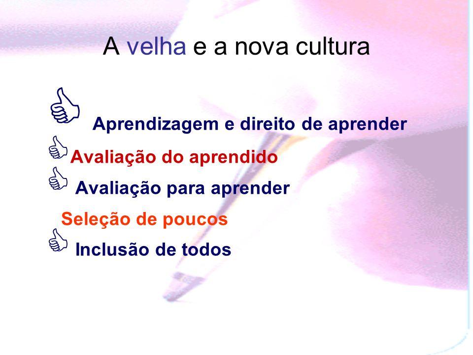 A velha e a nova cultura Aprendizagem e direito de aprender Avaliação do aprendido Avaliação para aprender Seleção de poucos Inclusão de todos