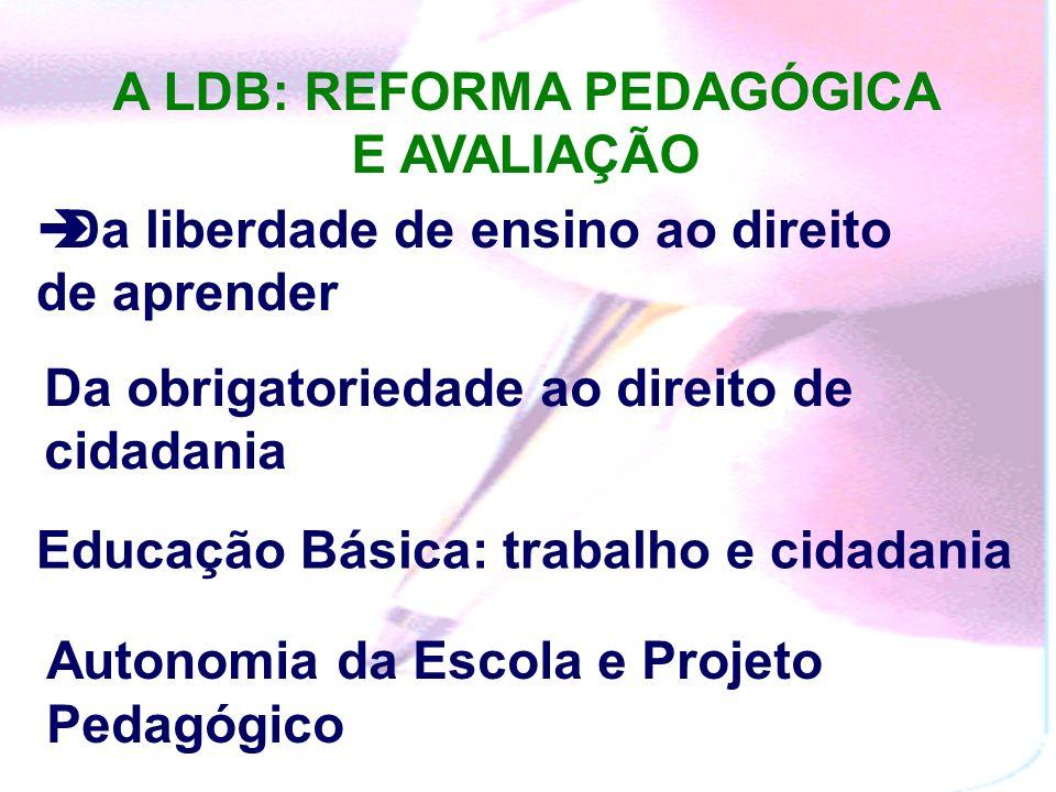 A LDB: REFORMA PEDAGÓGICA E AVALIAÇÃO Da liberdade de ensino ao direito de aprender Da obrigatoriedade ao direito de cidadania Educação Básica: trabalho e cidadania Autonomia da Escola e Projeto Pedagógico