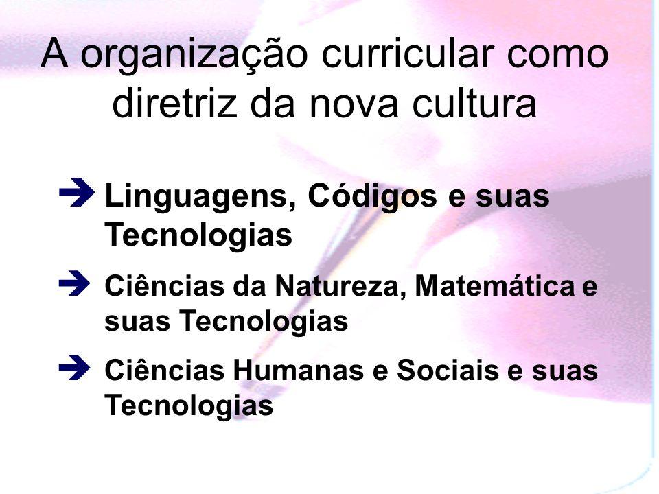 A organização curricular como diretriz da nova cultura Linguagens, Códigos e suas Tecnologias Ciências da Natureza, Matemática e suas Tecnologias Ciências Humanas e Sociais e suas Tecnologias