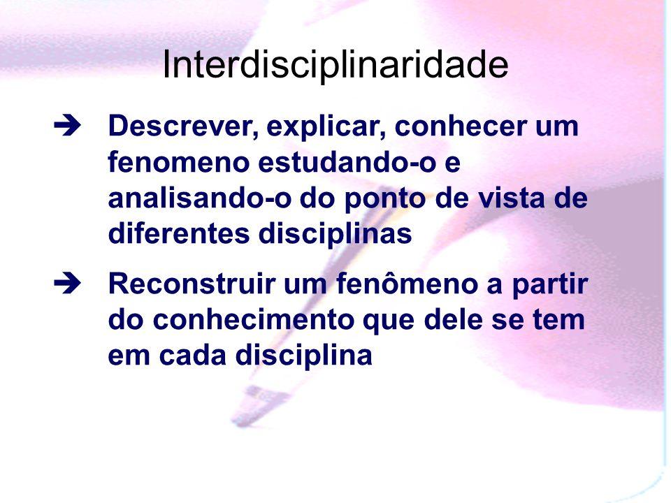Interdisciplinaridade Descrever, explicar, conhecer um fenomeno estudando-o e analisando-o do ponto de vista de diferentes disciplinas Reconstruir um fenômeno a partir do conhecimento que dele se tem em cada disciplina