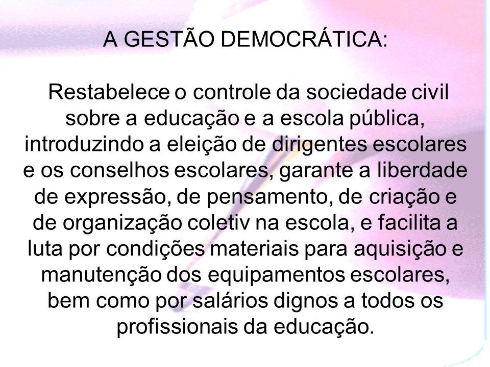 GESTÃO DEMOCRÁTICA DA EDUCAÇÃO: Reivindicada pelos movimentos sociais durante o período da ditadura militar, tornando-se um dos princípios da educação