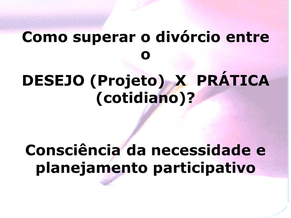 Como superar o divórcio entre o DESEJO (Projeto) X PRÁTICA (cotidiano).
