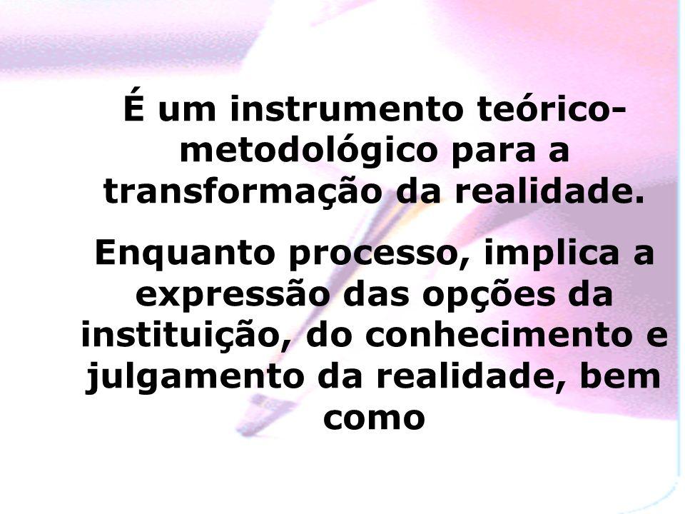 É um instrumento teórico- metodológico para a transformação da realidade.