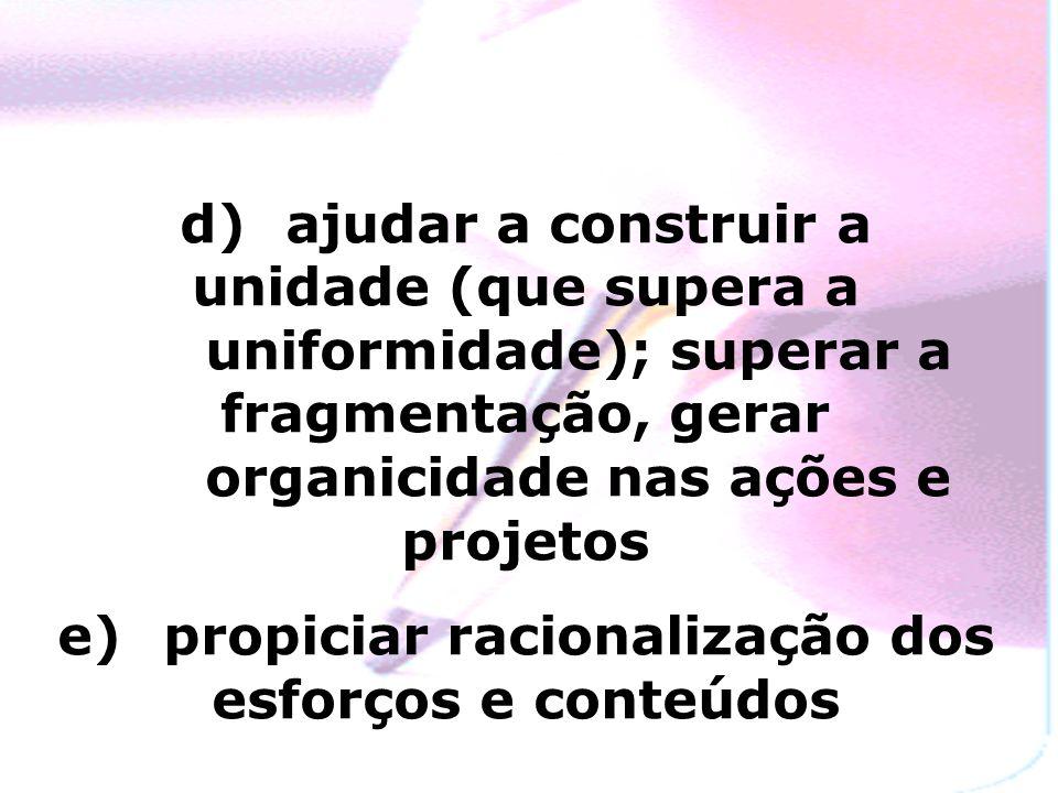 d) ajudar a construir a unidade (que supera a uniformidade); superar a fragmentação, gerar organicidade nas ações e projetos e) propiciar racionalização dos esforços e conteúdos