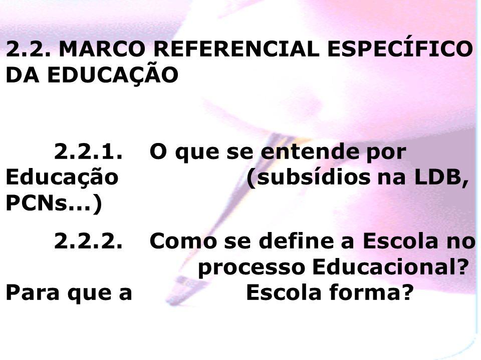 2.2.MARCO REFERENCIAL ESPECÍFICO DA EDUCAÇÃO 2.2.1.