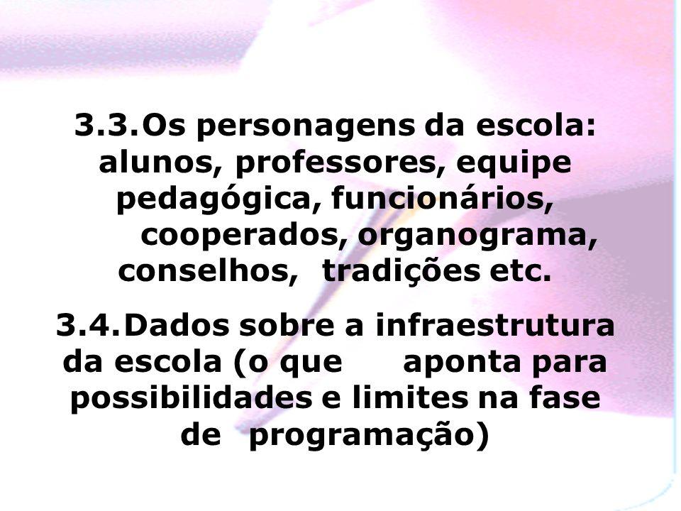 3.3.Os personagens da escola: alunos, professores, equipe pedagógica, funcionários, cooperados, organograma, conselhos, tradições etc.