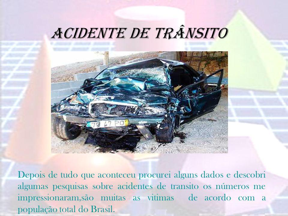 Acidente de trânsito Depois de tudo que aconteceu procurei alguns dados e descobri algumas pesquisas sobre acidentes de transito os números me impress