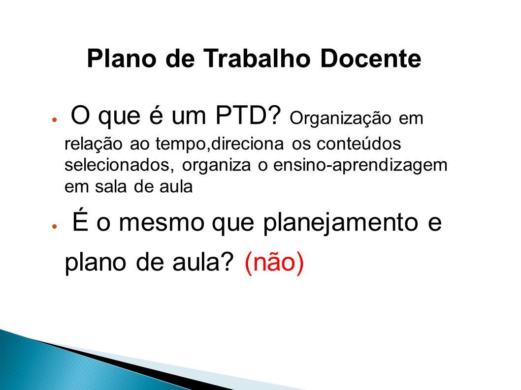 O que é um PTD? Organização em relação ao tempo,direciona os conteúdos selecionados, organiza o ensino-aprendizagem em sala de aula É o mesmo que plan