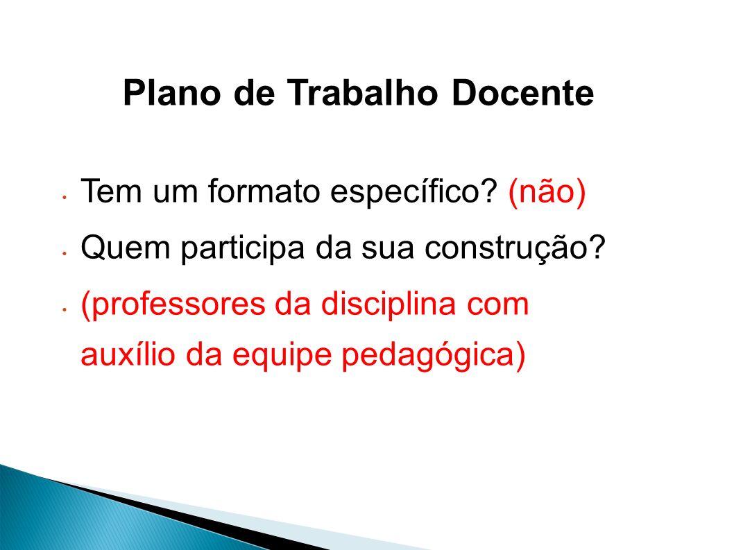 Tem um formato específico? (não) Quem participa da sua construção? (professores da disciplina com auxílio da equipe pedagógica) Plano de Trabalho Doce