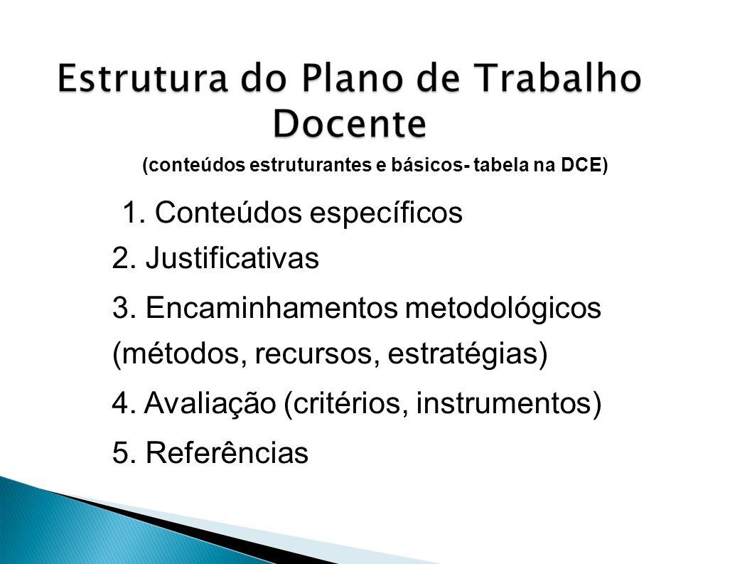 (conteúdos estruturantes e básicos- tabela na DCE) 1. Conteúdos específicos 2. Justificativas 3. Encaminhamentos metodológicos (métodos, recursos, est