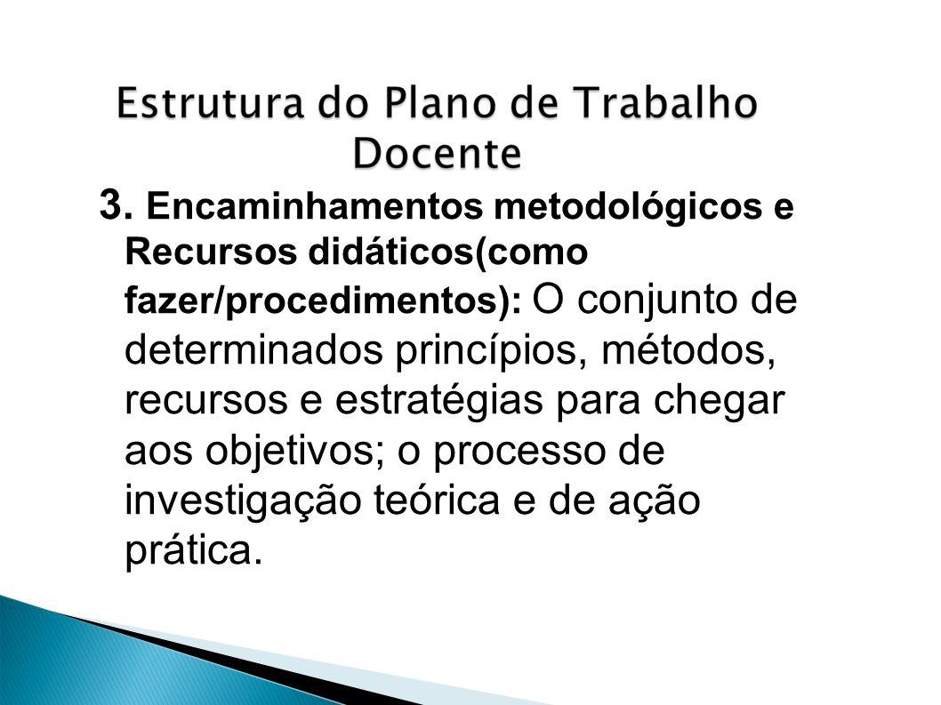 3. Encaminhamentos metodológicos e Recursos didáticos(como fazer/procedimentos): O conjunto de determinados princípios, métodos, recursos e estratégia
