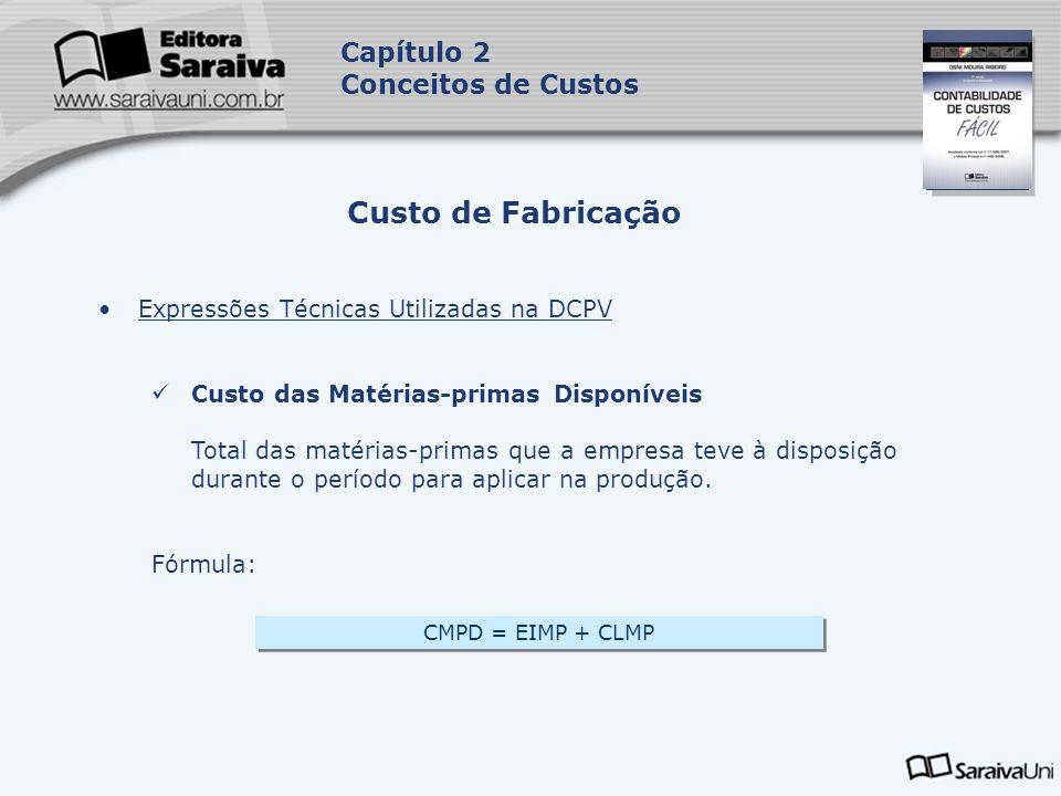 Capa da Obra Capítulo 2 Conceitos de Custos Expressões Técnicas Utilizadas na DCPV Custo das Matérias-primas Disponíveis Total das matérias-primas que