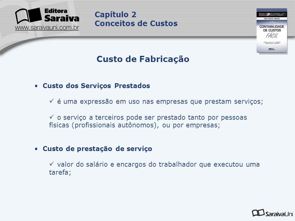 Capa da Obra Capítulo 2 Conceitos de Custos Custo de Fabricação Custo dos Serviços Prestados é uma expressão em uso nas empresas que prestam serviços;