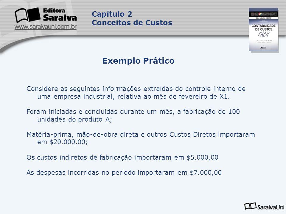 Capa da Obra Capítulo 2 Conceitos de Custos Considere as seguintes informações extraídas do controle interno de uma empresa industrial, relativa ao mê