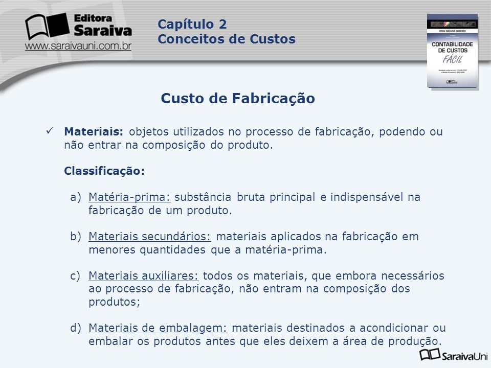 Capa da Obra Capítulo 2 Conceitos de Custos Materiais: objetos utilizados no processo de fabricação, podendo ou não entrar na composição do produto. C