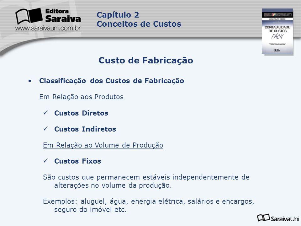 Capa da Obra Capítulo 2 Conceitos de Custos Classificação dos Custos de Fabricação Em Relação aos Produtos Custos Diretos Custos Indiretos Em Relação
