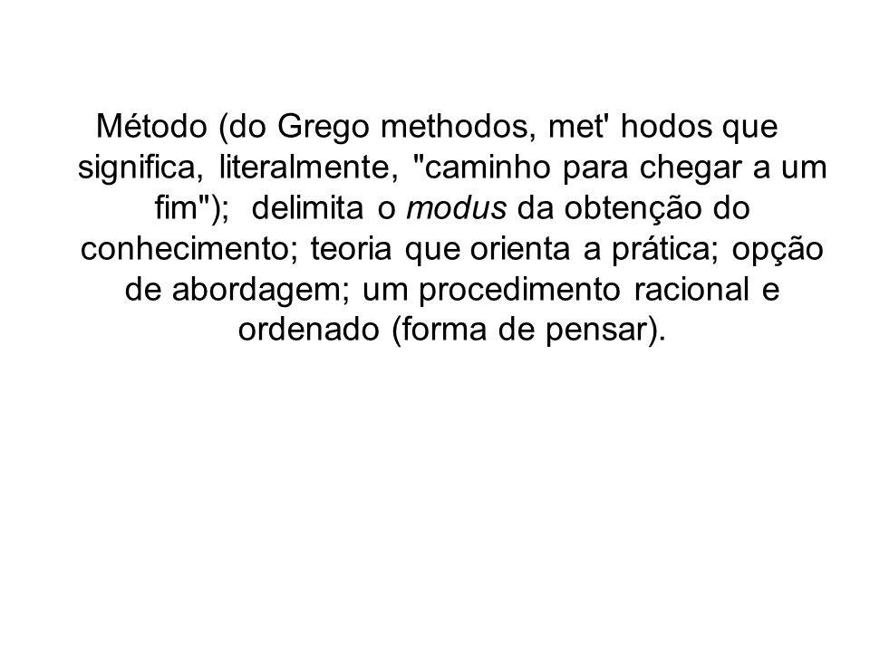 Método (do Grego methodos, met' hodos que significa, literalmente,