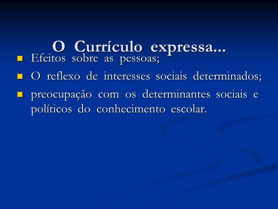 O Currículo expressa... Efeitos sobre as pessoas; Efeitos sobre as pessoas; O reflexo de interesses sociais determinados; O reflexo de interesses soci