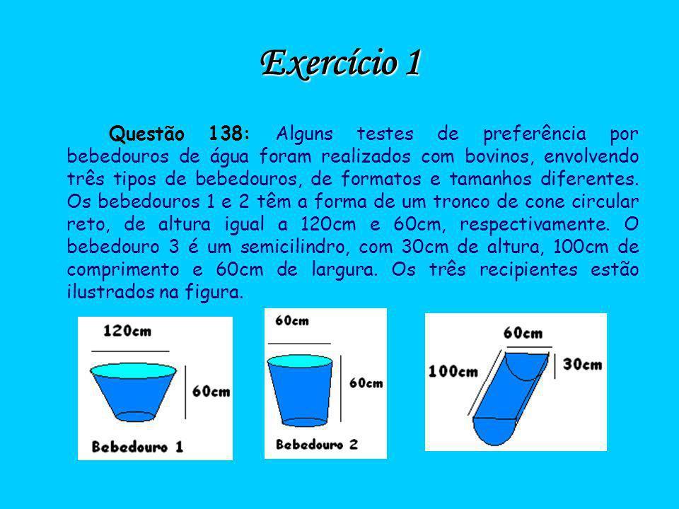 Exercício 1 Questão 138: Alguns testes de preferência por bebedouros de água foram realizados com bovinos, envolvendo três tipos de bebedouros, de for