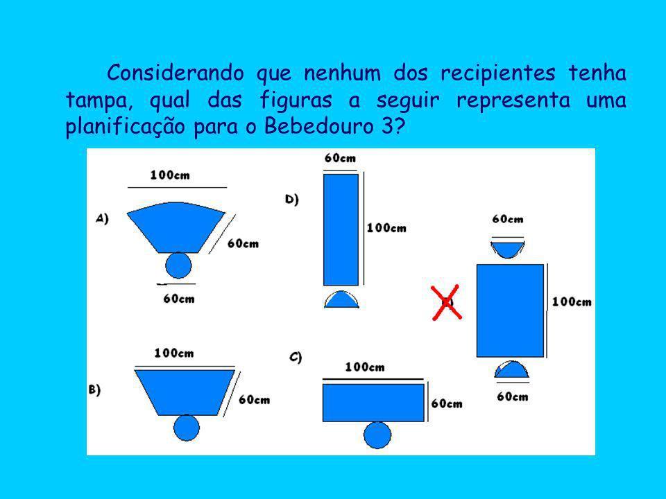 Considerando que nenhum dos recipientes tenha tampa, qual das figuras a seguir representa uma planificação para o Bebedouro 3?