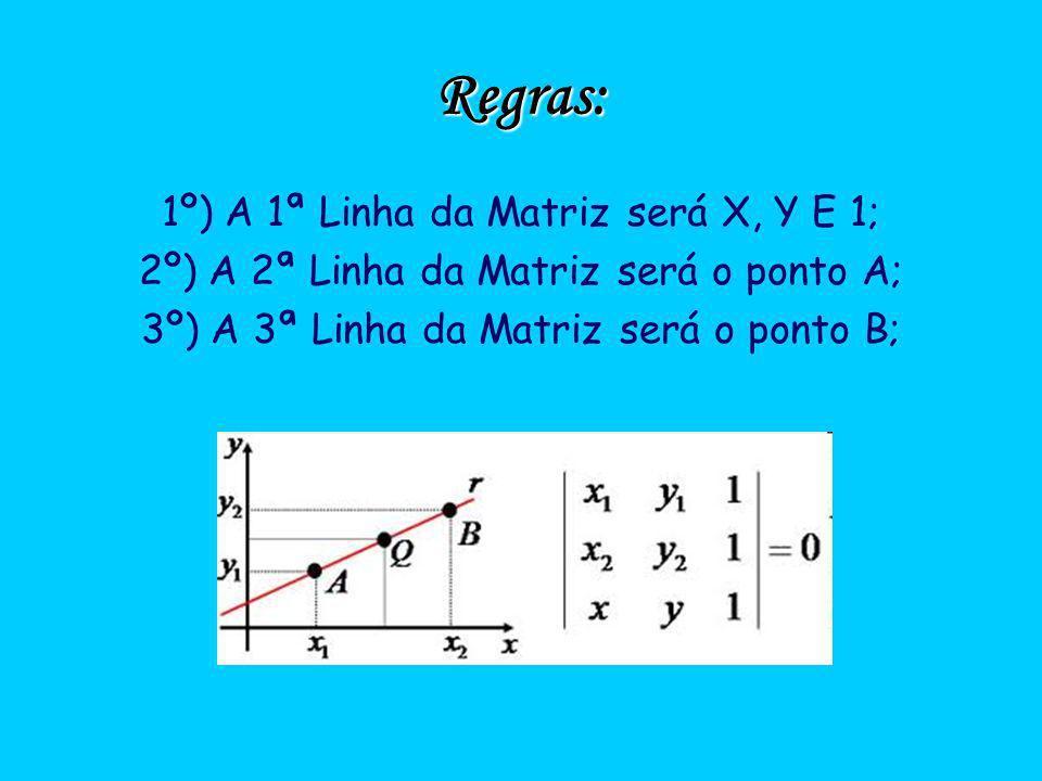 Regras: 1º) A 1ª Linha da Matriz será X, Y E 1; 2º) A 2ª Linha da Matriz será o ponto A; 3º) A 3ª Linha da Matriz será o ponto B;