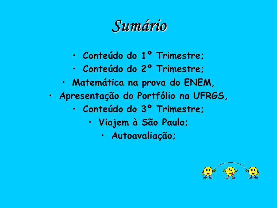 Sumário Conteúdo do 1º Trimestre; Conteúdo do 2º Trimestre; Matemática na prova do ENEM, Apresentação do Portfólio na UFRGS, Conteúdo do 3º Trimestre;
