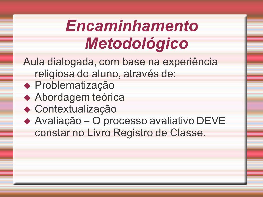 Encaminhamento Metodológico Aula dialogada, com base na experiência religiosa do aluno, através de: Problematização Abordagem teórica Contextualização