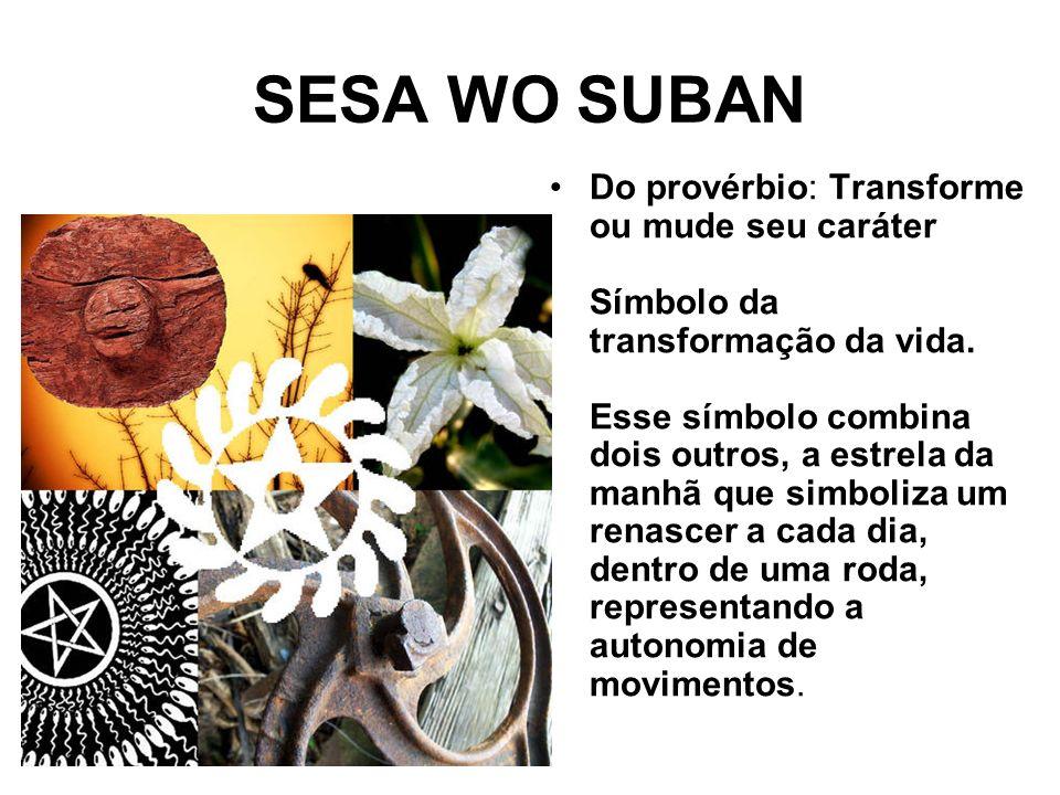 SESA WO SUBAN Do provérbio: Transforme ou mude seu caráter Símbolo da transformação da vida.