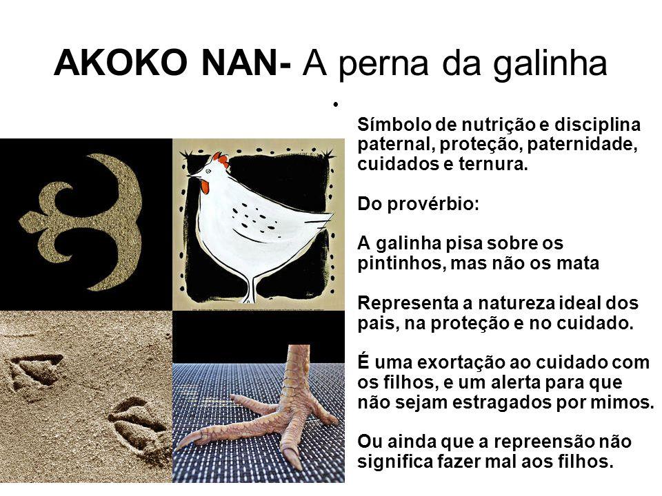 AKOKO NAN- A perna da galinha Símbolo de nutrição e disciplina paternal, proteção, paternidade, cuidados e ternura.
