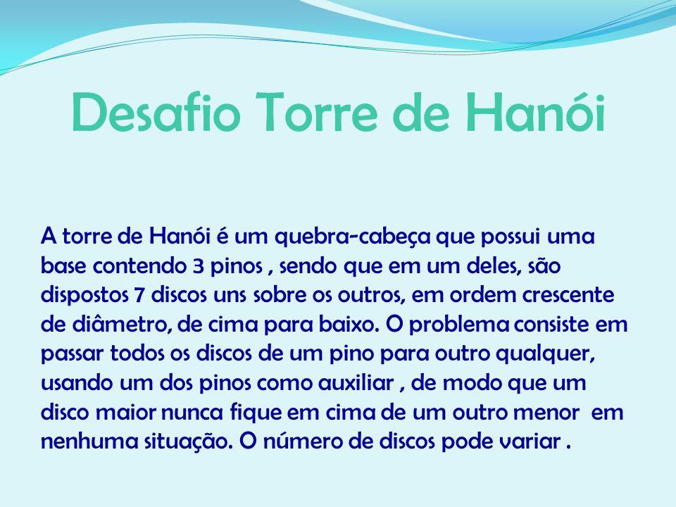 Desafio Torre de Hanói A torre de Hanói é um quebra-cabeça que possui uma base contendo 3 pinos, sendo que em um deles, são dispostos 7 discos uns sob