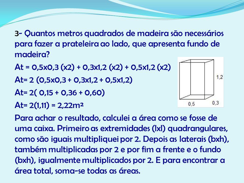 3- Quantos metros quadrados de madeira são necessários para fazer a prateleira ao lado, que apresenta fundo de madeira? At = 0,5x0,3 (x2) + 0,3x1,2 (x
